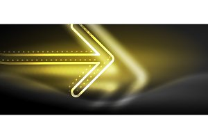Techno neon glowing arrow background