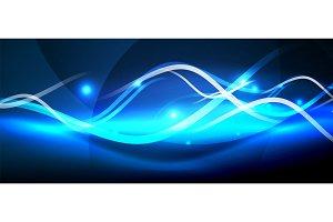 Bright neon lines wave