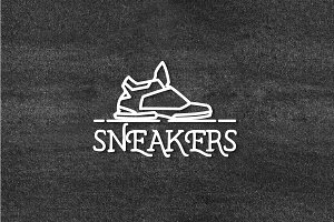Vector sneakers labels.