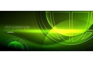 Techno globe concept, neon glow planet