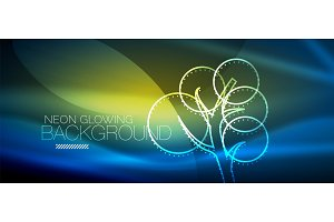 Vector neon glowing tree background