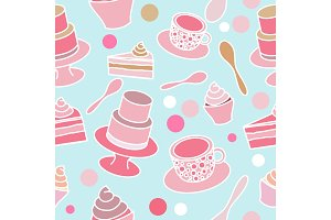 Cake party seamless pattern