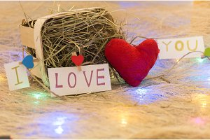 Red heart with the inscription I love you. Christmas garland.