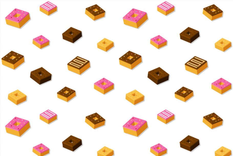 Isometric vector donuts + pattern in Objects - product preview 8