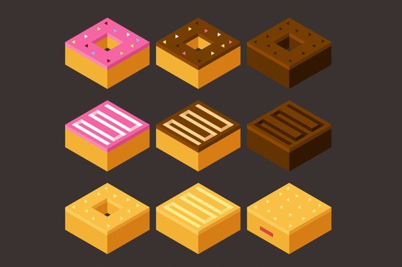 Isometric vector donuts + pattern in Objects - product preview 1
