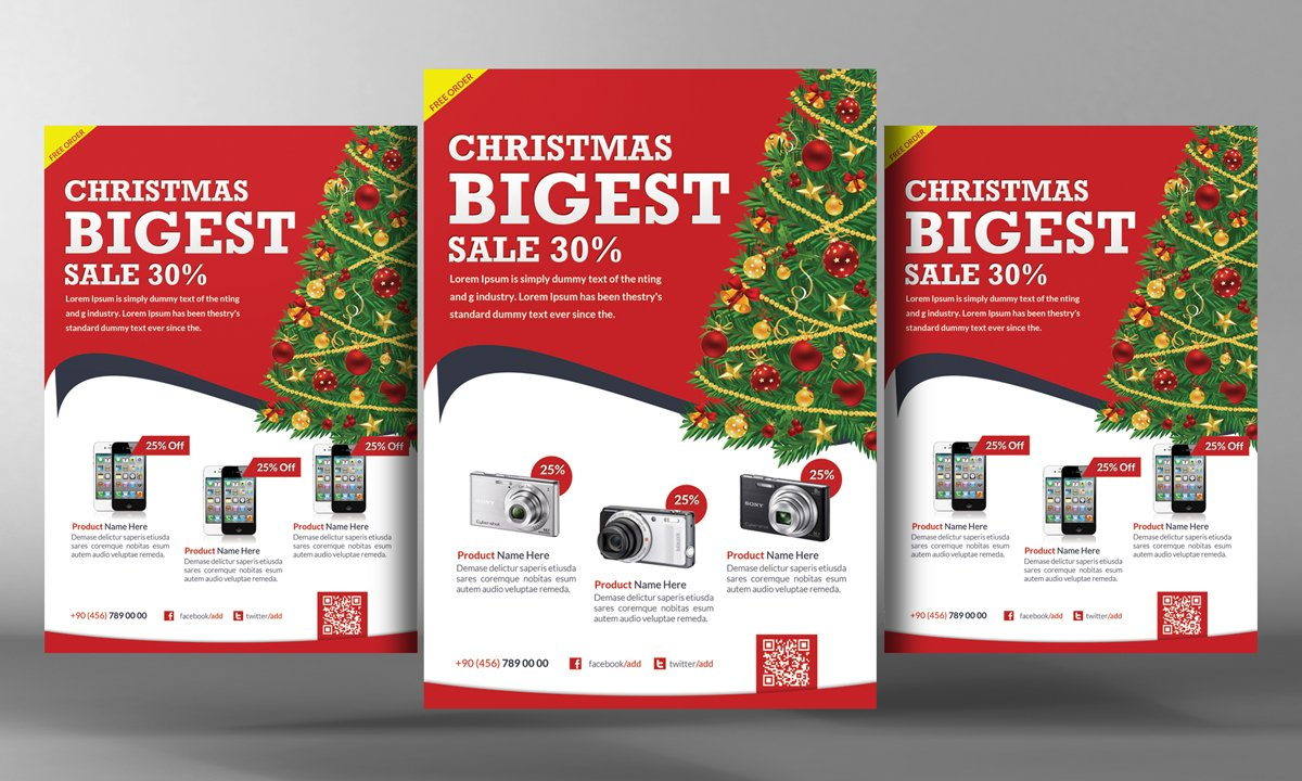 christmas products flyer template flyer templates creative market