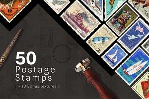 50 Postage Stamps + Bonus