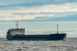 Large blue cargo ship
