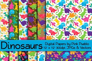 Cute Dinosaur Patterns and Papers