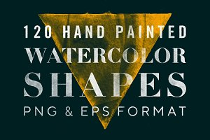 120 Watercolor Shapes PNG + EPS