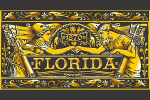 Florida  Black & Gold Label Plaque