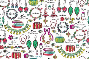 Pattern with hand drawn jewelry