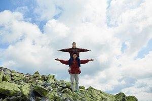 Couple Travelers mountaineering