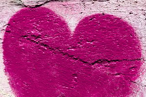 Pink heart on the wall