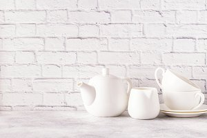 Two cups and teapot