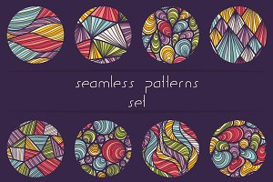 Set of waves seamless patterns