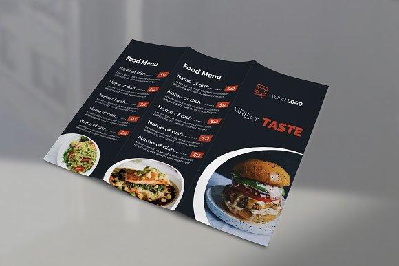 restaurant food menu tri fold brochure templates creative market