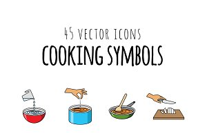 45 VECTOR ICONS - COOKING SYMBOLS
