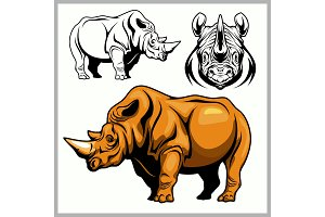 Rhinoceros in a profile and front view.