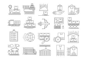 Shipping services outline icons