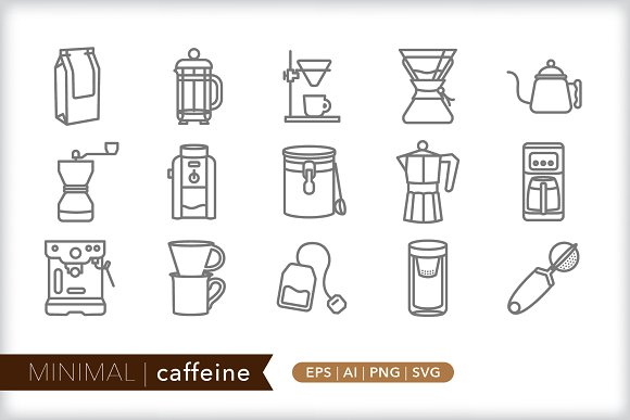 Minimal Caffeine Icons
