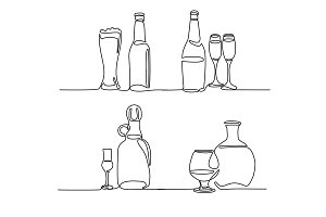 Set bottle and glass isolated