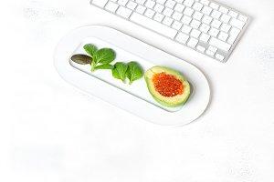 Office desk flat lay food blogger