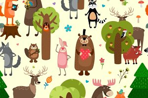 Happy forest animals pattern