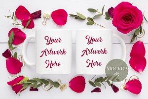 Double Mug Red Roses Mockup