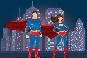 Superheroes on urban landscape back