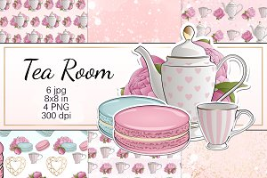 "Digital Paper ""Tea Room"""