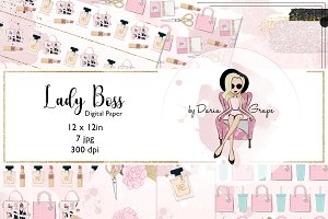 "Digital Paper ""Lady Boss"""
