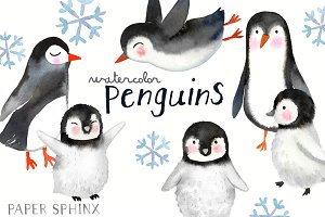 Watercolor Penguins Clipart