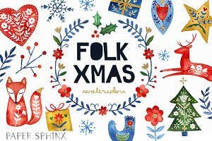 Watercolor Folk Christmas Clipart