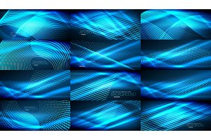 Set of blue neon smooth wave digital abstract backgrounds
