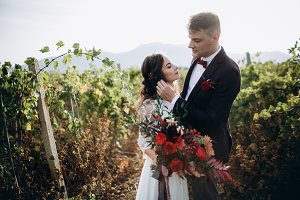 Amazing wedding in grape fields