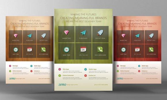 Flat Corporate Business Flyer Flyer Templates Creative Market