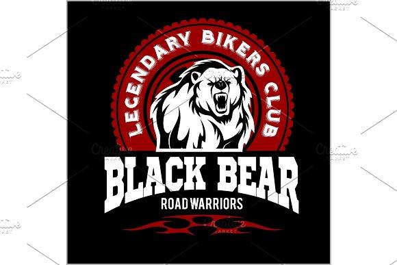 Bear bikers club tee print vector design. T-shirt emblem.