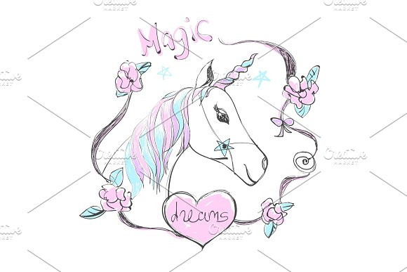 Fantastic unicorn with rainbow colors mane and horn. Vector cute illustration with Magic dreams text.