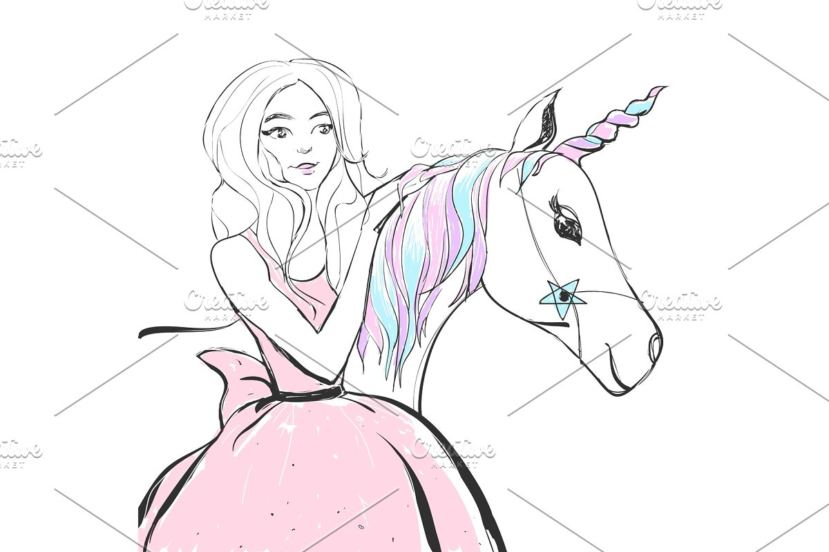 Fantastic unicorn with rainbow colors mane and horn and princess girl in a pink dress. Vector cute illustration.