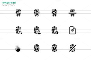 Touch id fingerprint icons on white