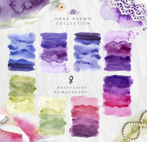 Watercolor abstract backgrounds in Textures - product preview 1