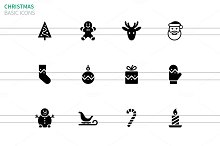 Christmas icons on white