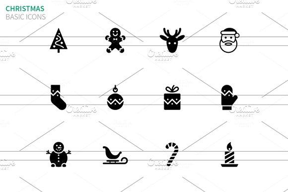 Christmas icons on white