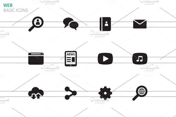 Web icons on white