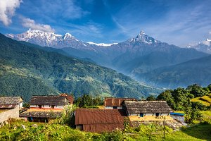 Village in the Himalaya mountains in Nepal