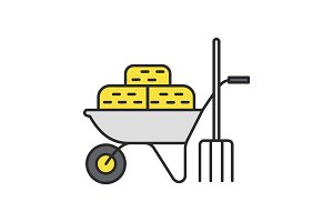 Wheelbarrow with bales of hay and pitchfork color icon