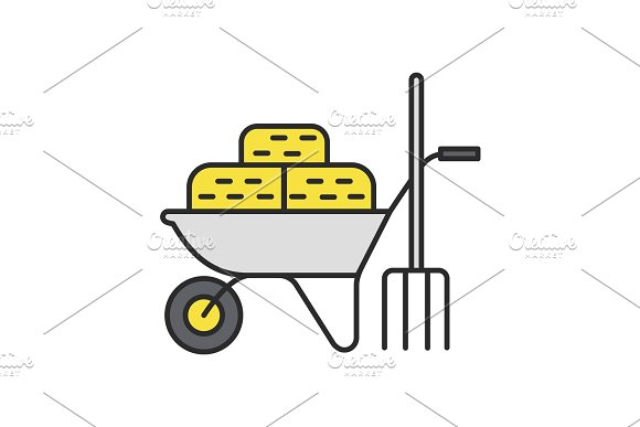 Wheelbarrow with bales of hay and pitchfork color icon in Graphics