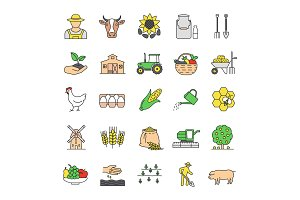 Agriculture color icons set