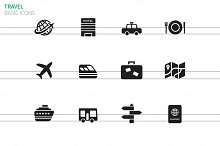 Travel icons on white